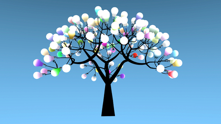 germinate: Tree whose leaves are bulbs. Colored lights are powered on. 3D Rendering Stock Photo