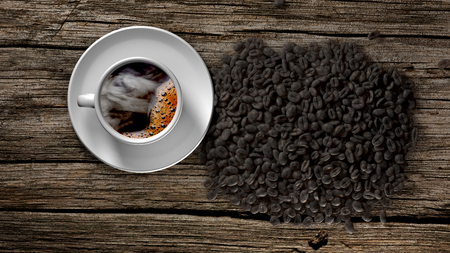 coffee beans: Cup of coffee with smoke and coffee beans on an old wooden table. 3D Rendering