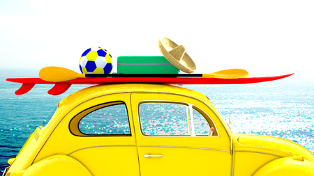 Little old car going on holiday with beach sport equipments on the roof. The sea and sun appear on the background. 3D Rendering Stock Photo
