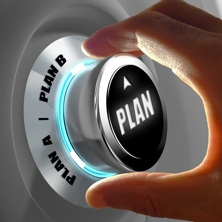 different goals: Hand selecting Plan A or Plan B. Concept of making a decision. 3D Rendering Stock Photo