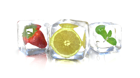 Strawberry lemon and a mint leaf into fresh ice cubes. 3D Rendering Stock fotó
