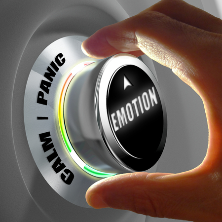 constraint: Hand selecting between calm and panic emotion. Concept of emotion control. 3D Rendering Stock Photo