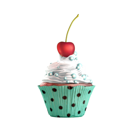 Isolated cupcake with cream, cherry and candies. 3D Rendering Stock Photo