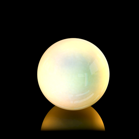 Close up view of a golden pearl. 3D Rendering