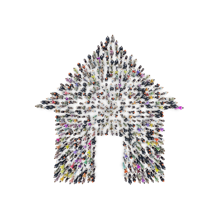 Aerial view of men and women that are grouping in house shape. 3D Rendering