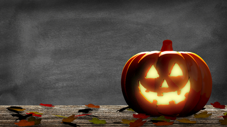Lantern into a halloween pumpkin with leaves on a wooden table and a blackboard. 3D Rendering Stock Photo