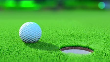 Close up view of a golf ball on the green near the hole. Win concept. 3D Rendering Stock Photo