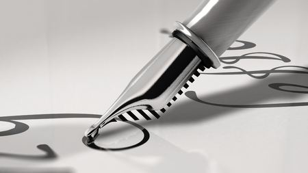 Close up view of a fountain pen writing cursive letter. 3D Rendering Stock Photo
