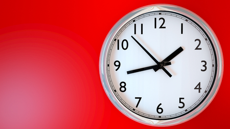 domiciles: Kitchen clock on a red wall. 3D Rendering
