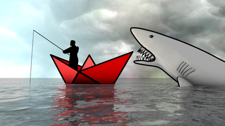 Metaphor of man fishing who does not see the danger coming. Metaphor. 3D Rendering