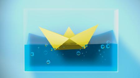 Paper folded boat sailing. 3D Rendering. Concept illustration.