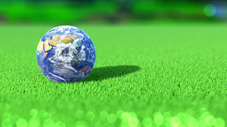 Planet Earth on the green of a golf course. India. 3D rendering. Stock Photo