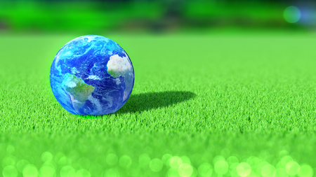 Planet Earth on the green of a golf course. America, Africa, Europe. 3D rendering.