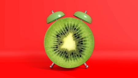 Wake up vintage morning shaped kiwi. Concept illustrating that it is time to take vitamins.