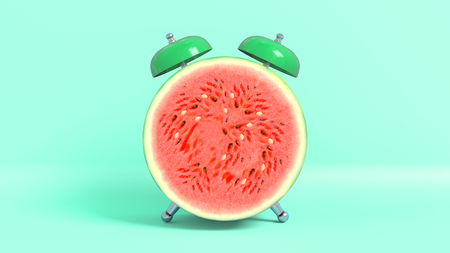 Wake up vintage morning shaped watermelon. Concept illustrating that it is time to take vitamins.