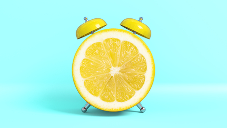 Wake up vintage morning shaped lemon. Concept illustrating that it is time to take vitamins. Stockfoto