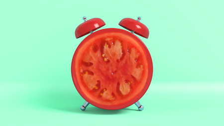 Wake up vintage morning shaped tomato. Concept illustrating that it is time to take vitamins.
