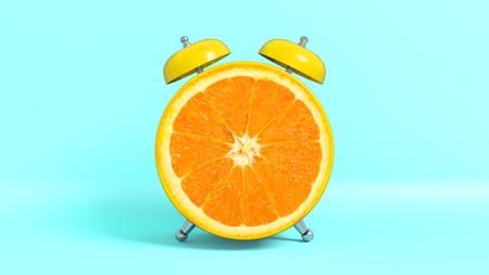 Wake up vintage morning shaped orange. Concept illustrating that it is time to take vitamins. 3D rendering.