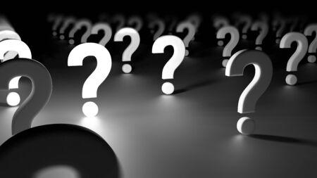 Diversi punti interrogativi rappresentano l'interrogatorio di un pubblico o più domande su un argomento. Rendering 3D Archivio Fotografico