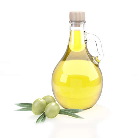 Oil bottle in the shape of a flask with a handle covered with a wooden cap. Green olives from the olive tree to the left of the container. Branches of green leaves. Reflections of light on the glass container. 3D Rendering Zdjęcie Seryjne