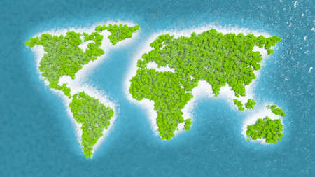 Map of the countries of the world in dense rainforest. Trees and green vegetation. Fine and white sand. Blue and sparkling sea water. 3d rendering Stock Photo