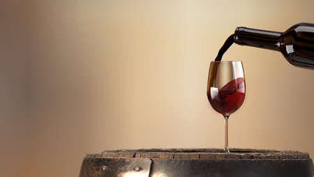 Red wine poured from a bottle into a wine glass on an old wooden barrel. 3d rendering Stock Photo