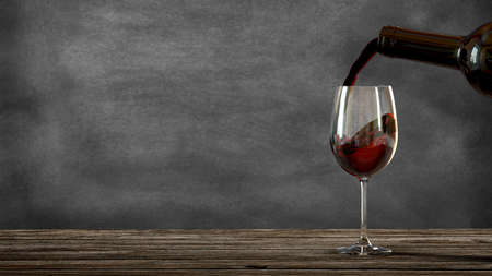 Red wine poured from a bottle into a wine glass. Blackboard background. Old wooden table. 3d rendering Stock fotó