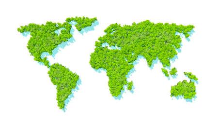 Map of the world in dense rainforest. Trees and green vegetation. White background. 3d rendering