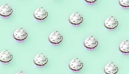 Many cupcakes proposed at will for the most greedy and for the greatest pleasure of our eyes and our taste buds. 3d rendering Stock Photo