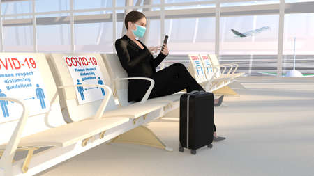 COVID-19 Distancing at airport. A business woman wearing a mask is sit and waiting for the plane. 3D Rendering