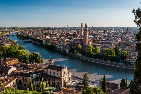 View of city of Verona across Adige river  photo
