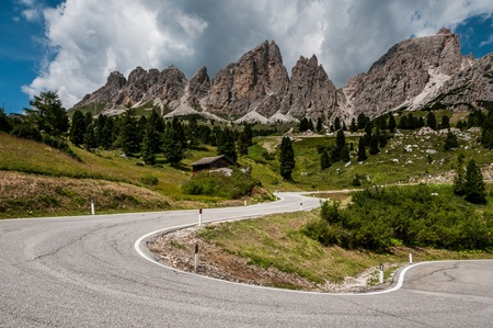 View of the road in the Dolomites near Passo Gardena  photo