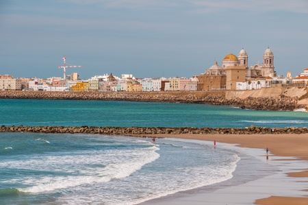 Costal view of antient city Cadiz on south of Spain