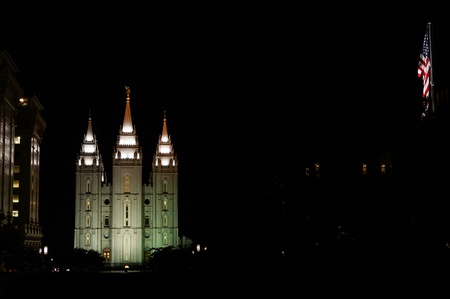 mormon temple: Night view of Salt Lake Temple  SLT is headquater of  The Church of Jesus Christ of Latter-day Saints, very popular church amongs Utah habitans  There is a statue of the Angel Moroni on the top of central capstone
