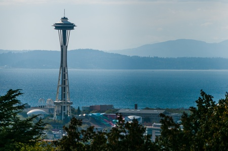 seattle: View of famous symbol os Seattle Space Needle