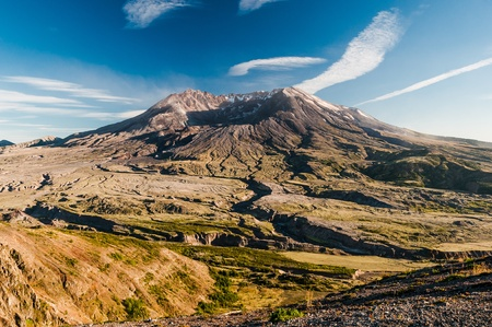 Panoramatic view of famous volcano Mount St  Helens located in Washington  It is notorious for its eruption on May 18, 1980 whan 75 people were killed by this tradic event  photo
