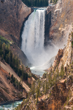 Detailed view of the Lower Falls at the Grand Canyon of the Yellowstone, Wyoming, USA  photo