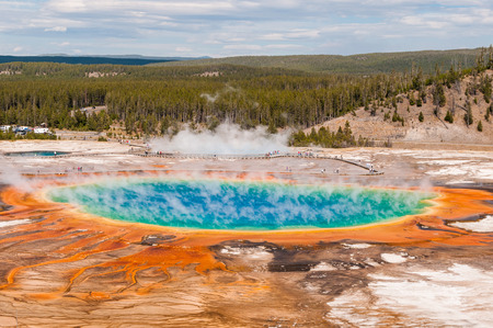 Aerial view of famous Grand Prismatic Spring in Yellowstone National Park  photo
