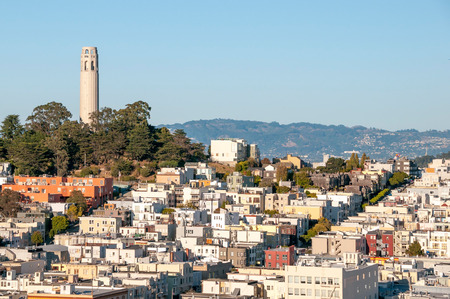telegraph hill: Picture of Telegraph Hill with Coit Tower in San Francisco, USA.