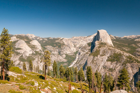 half dome: Panoramic view of famous Half Dome in Yosemite NP. Stock Photo