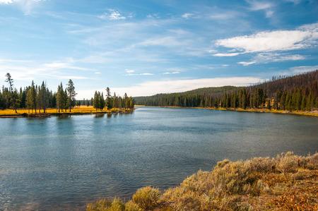 Scenic view of autumn calm river. photo