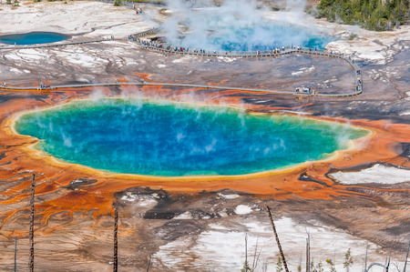 prismatic: Aerial view of famous Grand Prismatic Spring in Yellowstone National Park. Stock Photo