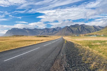 road ahead: Scenic view of main road on Iceland.
