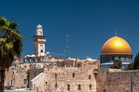 Scenic view of Jerusalem old city with The Dome of Rock.