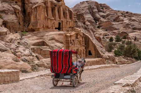 Tourist transport (carriage) near entrance to famous Petra site. Petra, Jordan. Stock Photo