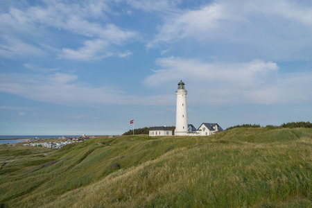 Beautiful landscape of Hirtshals with lighthouse in frornt. Denmark. Stock Photo