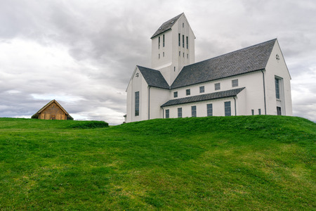 Famous Cathedral of Skalholt, Skalholtdomkirkja in Iceland.