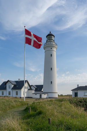 Vertical view of lighthouse of Hirtshals in denmark.