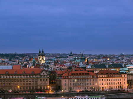 Scenic view of Historical center of Prague during blue hour after sunset, buildings and landmarks of old Prague town,Czech Republic.