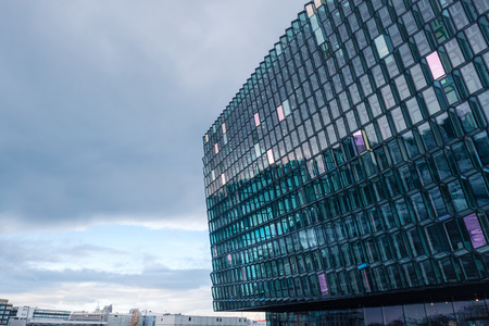 Detail of the glass facade of the Harpa Concert Hall in Reykjavik, Iceland. Stock Photo